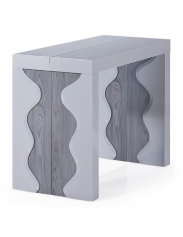 Table Console Ariel XL Laquée Gris & Chêne Gris at8210lgris