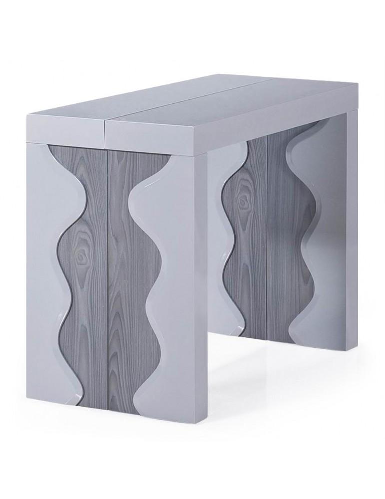 Table Console Ariel XL Laquée Gris & Chêne Gris at8210lgris