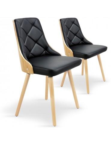 Lot de 2 chaises scandinaves Lalix Chêne Clair & Noir 4630lot2chenenoir