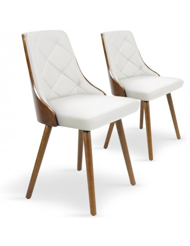 Lot de 2 chaises scandinaves Lalix Bois Noisette & Blanc 4630lot2noisblanc