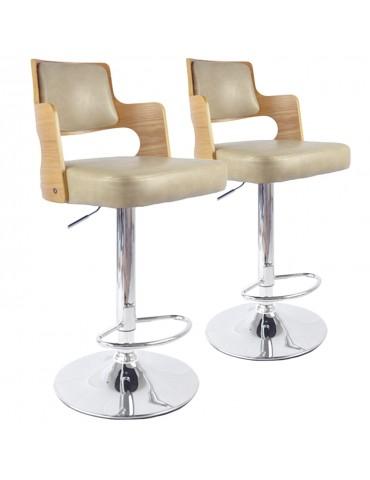 Lot de 2 chaises de bar Russel Chêne Clair & Crème 1058lot2chenecreme
