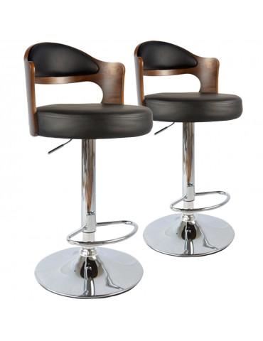 Lot de 2 chaises de bar Ruben Bois Noisette & Noir 1025lot2noisnoir