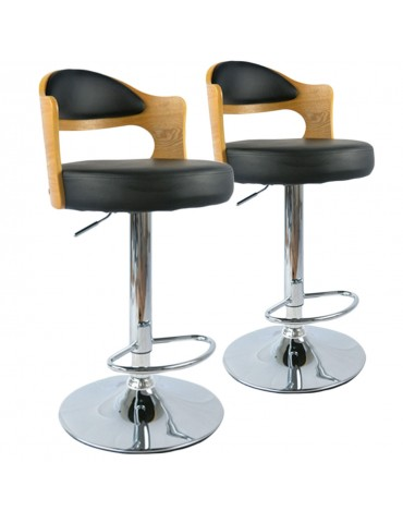 Lot de 2 chaises de bar Ruben Chêne Clair & Noir 1025lot2chenenoir