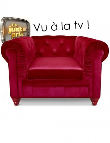 Fauteuil Chesterfield velours Rouge A605-V-1-Rouge