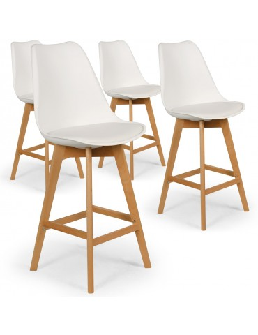 Lot de 4 chaises hautes scandinaves Bovary Blanc c807blanc