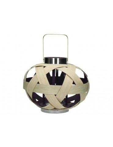 Lanterne ronde en bambou marron et violet PEPS DEC3420010
