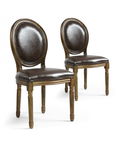 Lot de 2 chaises de style médaillon Louis XVI Simili (P.U) Marron bois patiné Or 24501ksp25030