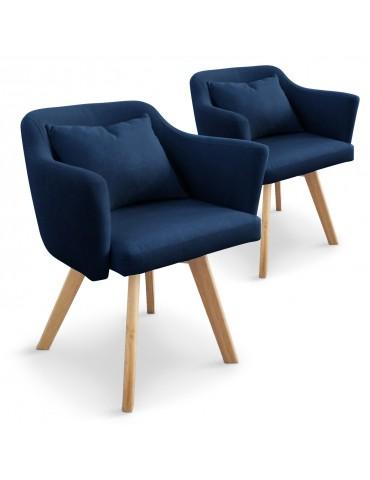 Lot de 2 fauteuils scandinave Dantes Tissu Bleu yf1529lot2bleu