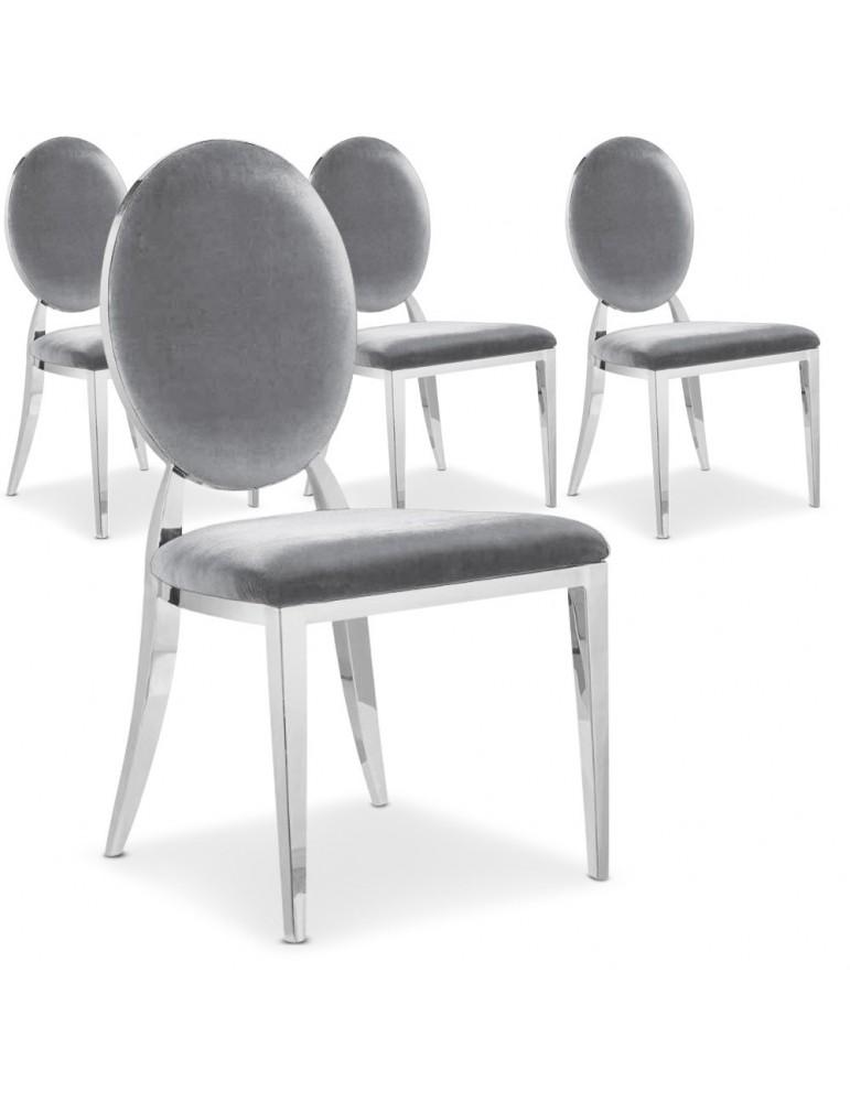 Lot de 4 chaises Sofia velours Argent sc2204lot4argent