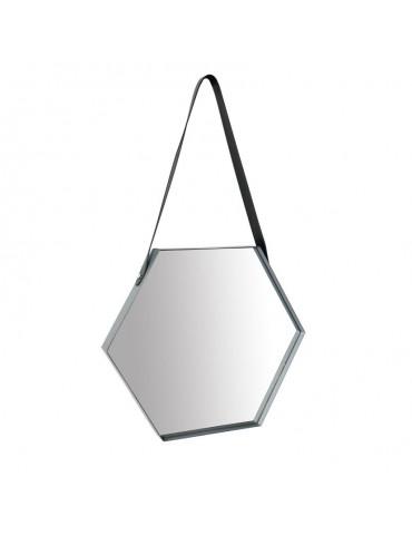 Miroir hexagone en métal et lanière cuir 56x34x3cm DMI4050004Delamaison