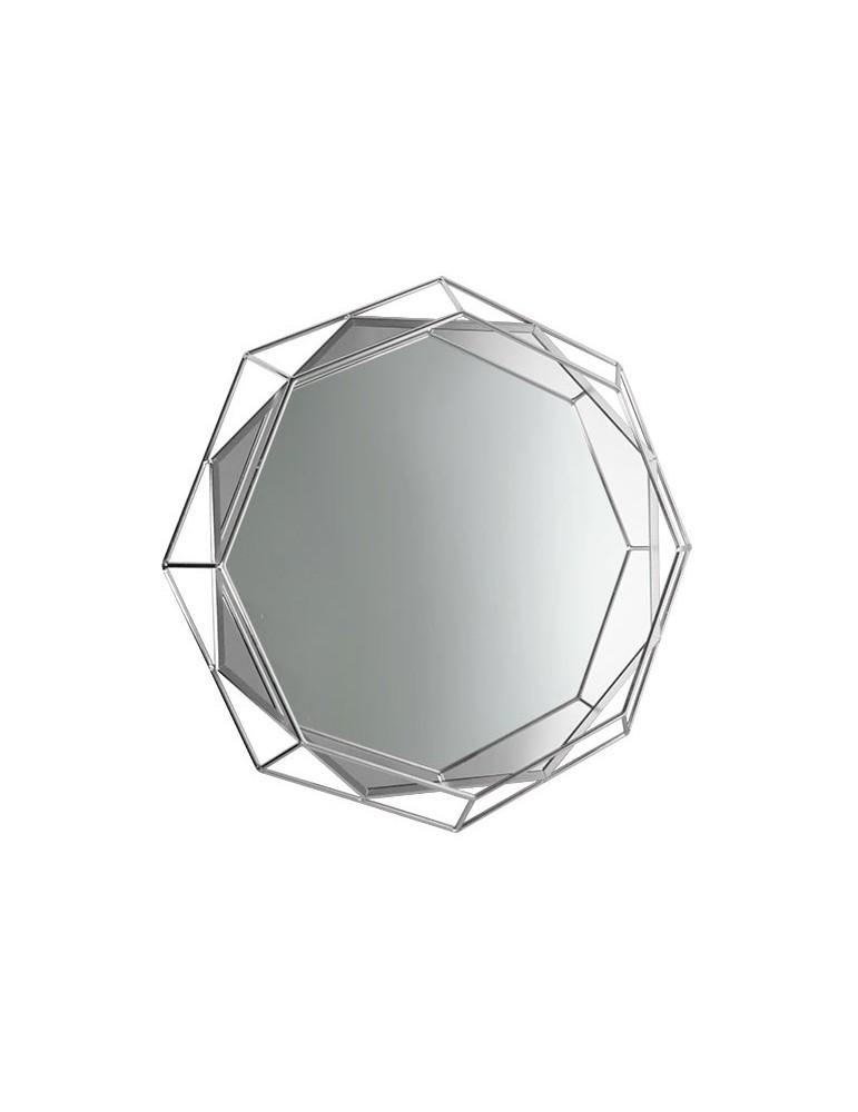 Miroir octogonal en métal argent effet filaire D.50cm DMI4050005Delamaison