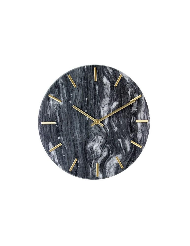 Horloge marbre noir et doré D.30cm DMI4050017Delamaison