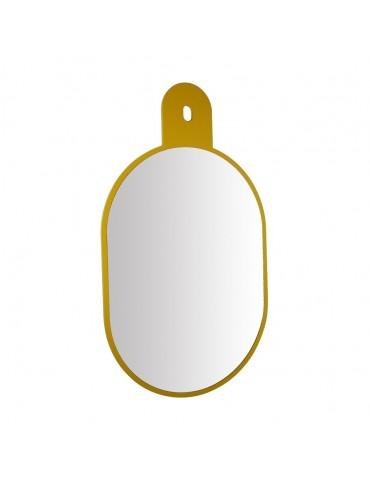 Miroir ovale à suspendre en bois MDF jaune 69.5x40cm DMI4050023Delamaison