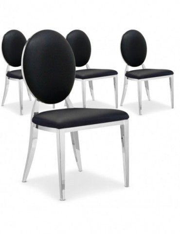 Lot de 4 chaises médaillon Sofia Noir ft83lot4noir