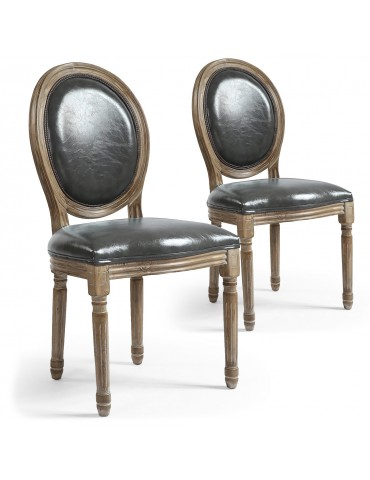 Lot de 2 chaises médaillon Louis XVI Simili (P.U) Gris 24501f011