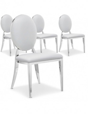 Lot de 4 chaises médaillon Sofia Blanc ft83lot4blanc