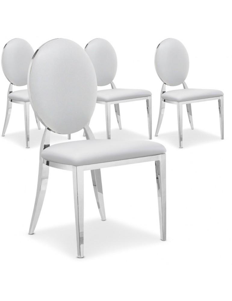 Lot de 4 chaises médaillon Sofia Blanc ft83lot4blanc