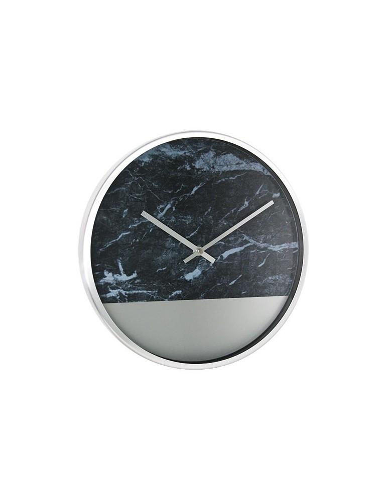 Horloge murale ronde effet marbre bicolore en métal argent D.30cm DHO4050011Delamaison