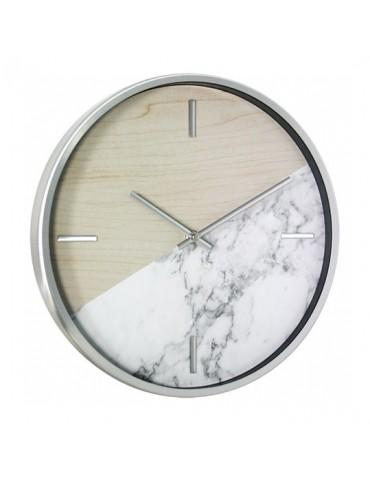 Horloge murale ronde bicolore effet bois et marbre D.30cm DHO4050012Delamaison