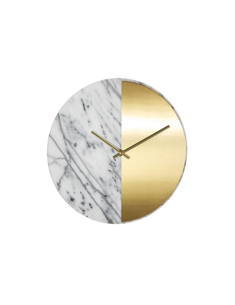 Horloge murale ronde bicolore doré et marbre D.30cm DHO4050019Delamaison