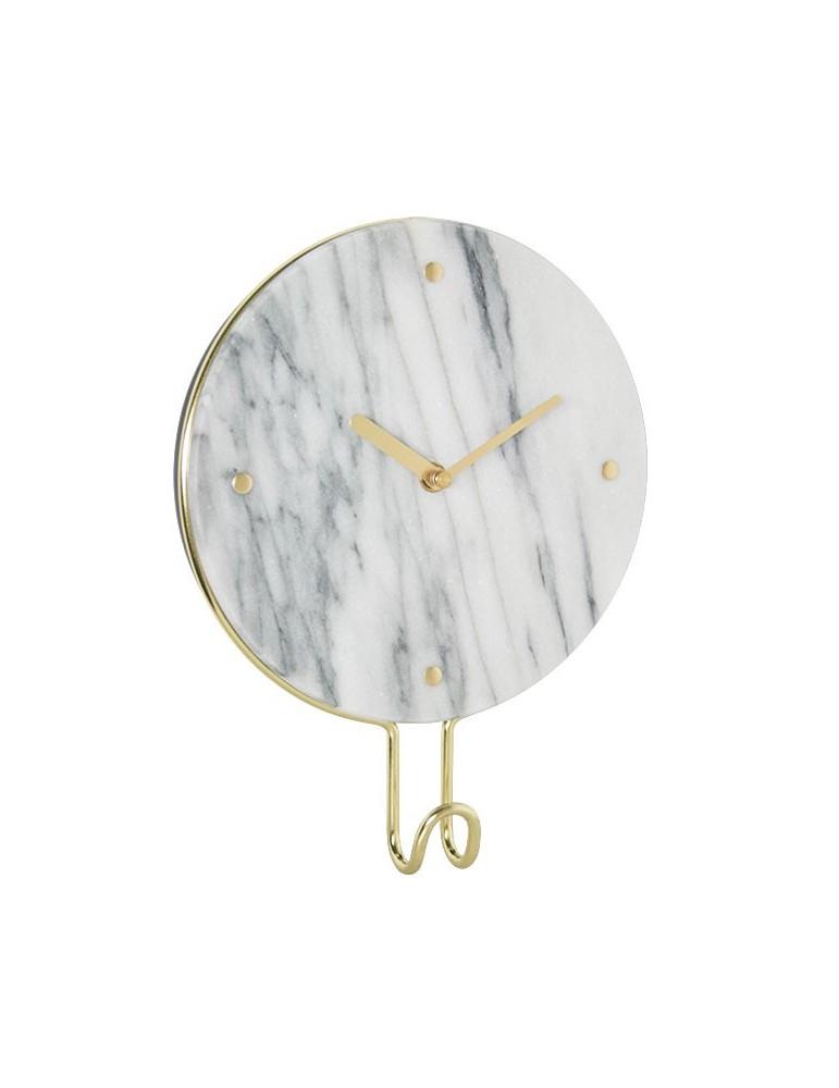 Horloge murale ronde en marbre et patère 26x21x4.5cm DHO4050020Delamaison