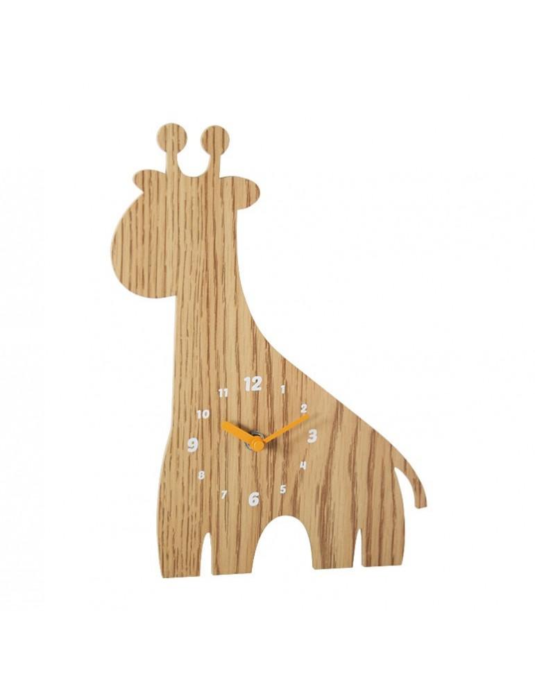 Horloge enfant forme girafe en bois 30x21x4.5cm DHO4050027Delamaison