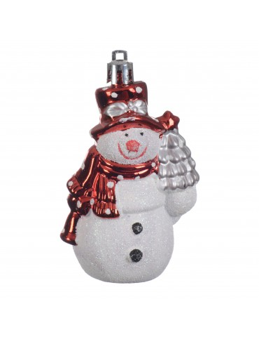 Suspension de noël bonhomme de neige rouge et blanc DEO4063044Decoris