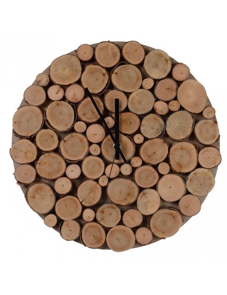 Horloge murale ronde rondin de bois D.35cm DHO4063236Decoris