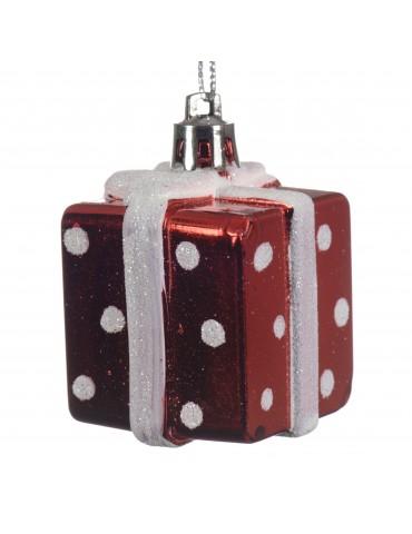 Suspension de noël cadeau de noël pois blanc et rouge DEO4063043Decoris