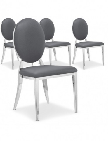 Lot de 4 chaises médaillon Sofia Gris ft83lot4gris