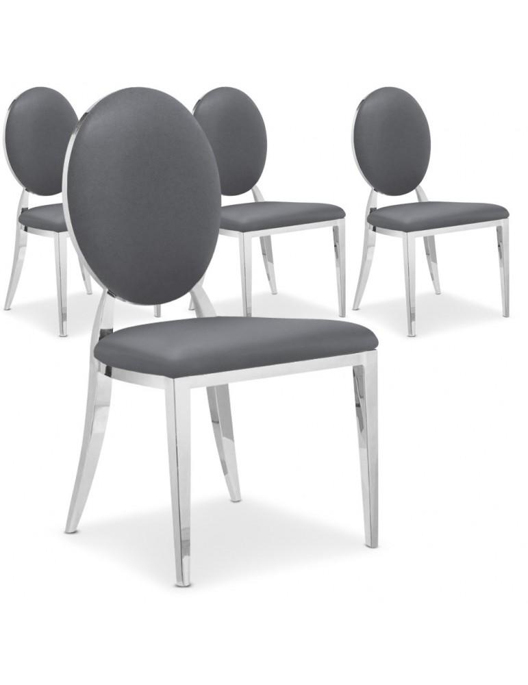 Lot de 4 chaises médaillon Sofia Gris ft83lot4gris
