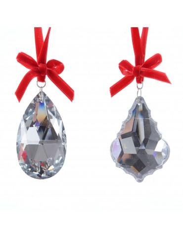 Set de 2 suspensions diamant et ruban velours DEO4063225Decoris