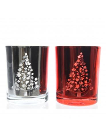 Set de 2 photophores en verre motif sapin de noël DEO4063404Decoris