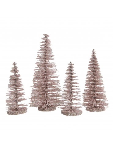 Sapin décoratif à poser à paillette - Set de 4 rose DEO4063198Decoris