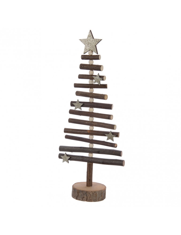 Sapin décoratif à poser en bois et paillette DEO4063209Decoris