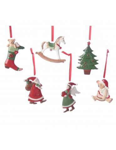 Set de 6 suspensions de noël - figurines assorties DEO4063227Decoris