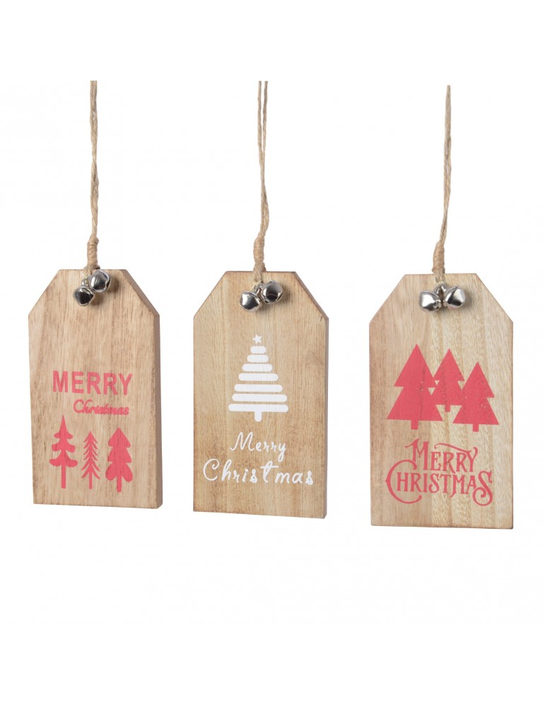 Suspension de noël en bois rouge (Lot de 3) DEO4063355Decoris