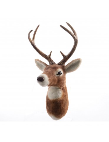 Trophée tête de renne en fausse fourrure brun foncé DEO4063246Decoris