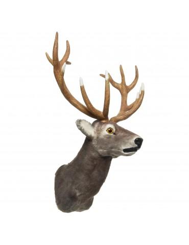 Trophée tête de renne en fausse fourrure gris DEO4063247Decoris