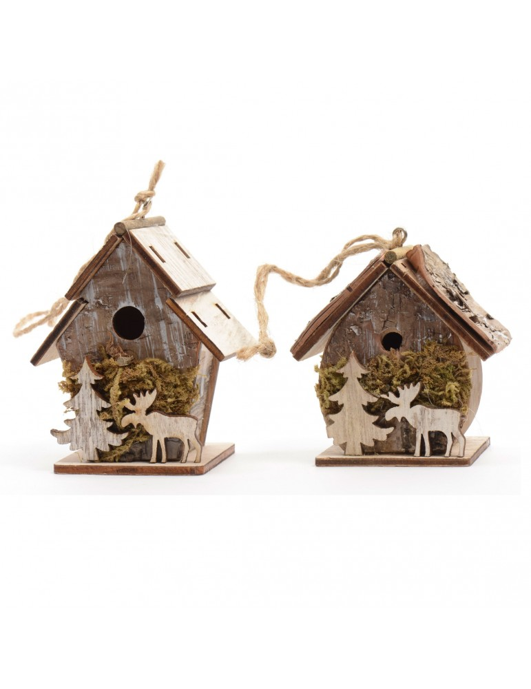 Nichoir décoratif en bois naturel (Lot de 2) DEO4063411Decoris