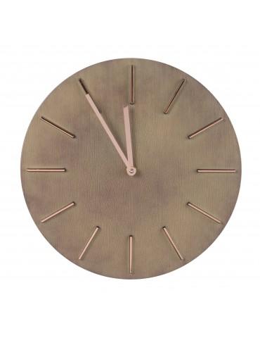 Horloge murale ronde en bois naturel finition cuivré 30.5cm DHO4063235Decoris