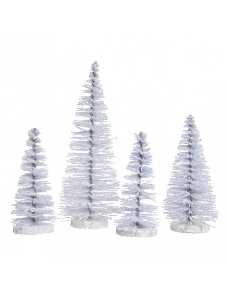 Sapin décoratif à poser à paillette blanc (Lot de 4) DEO4063197Decoris