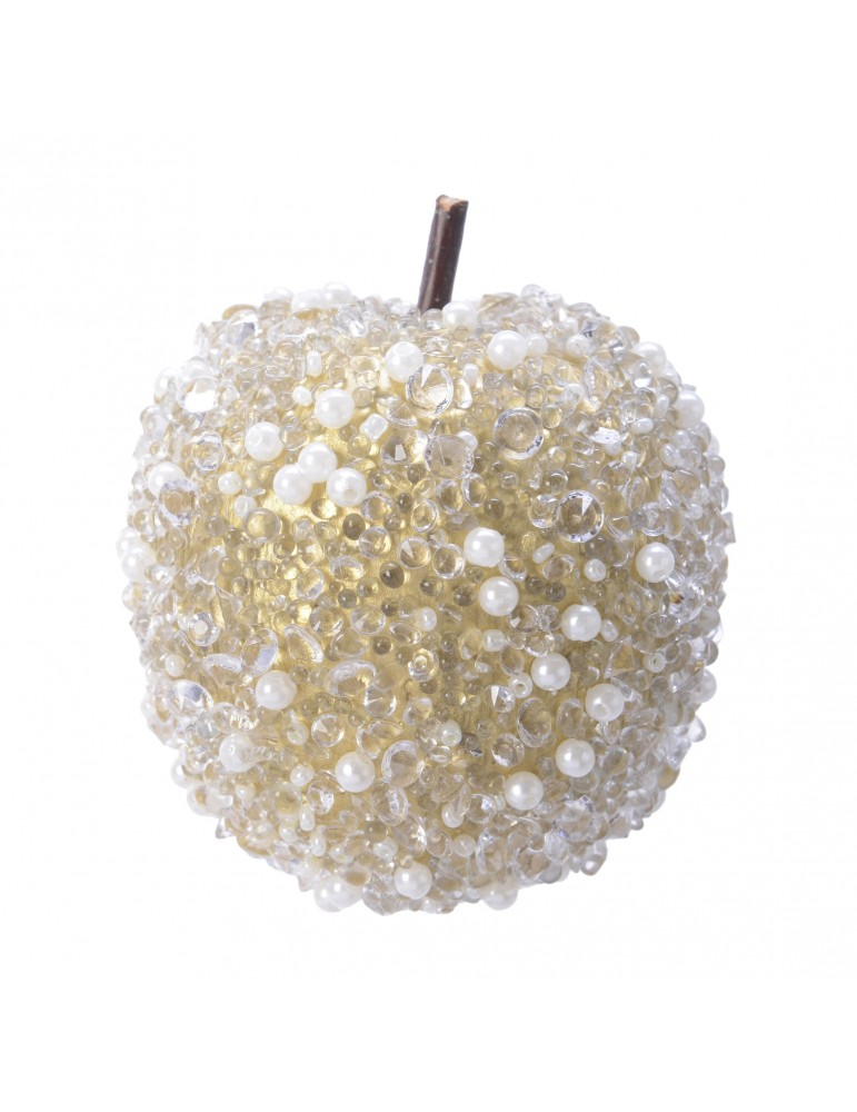 Suspension de noël pomme strass et perle blanc DEO4063174Decoris