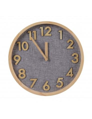 Horloge murale ronde en bois et tissu gris marron 30cm DHO4063234Decoris