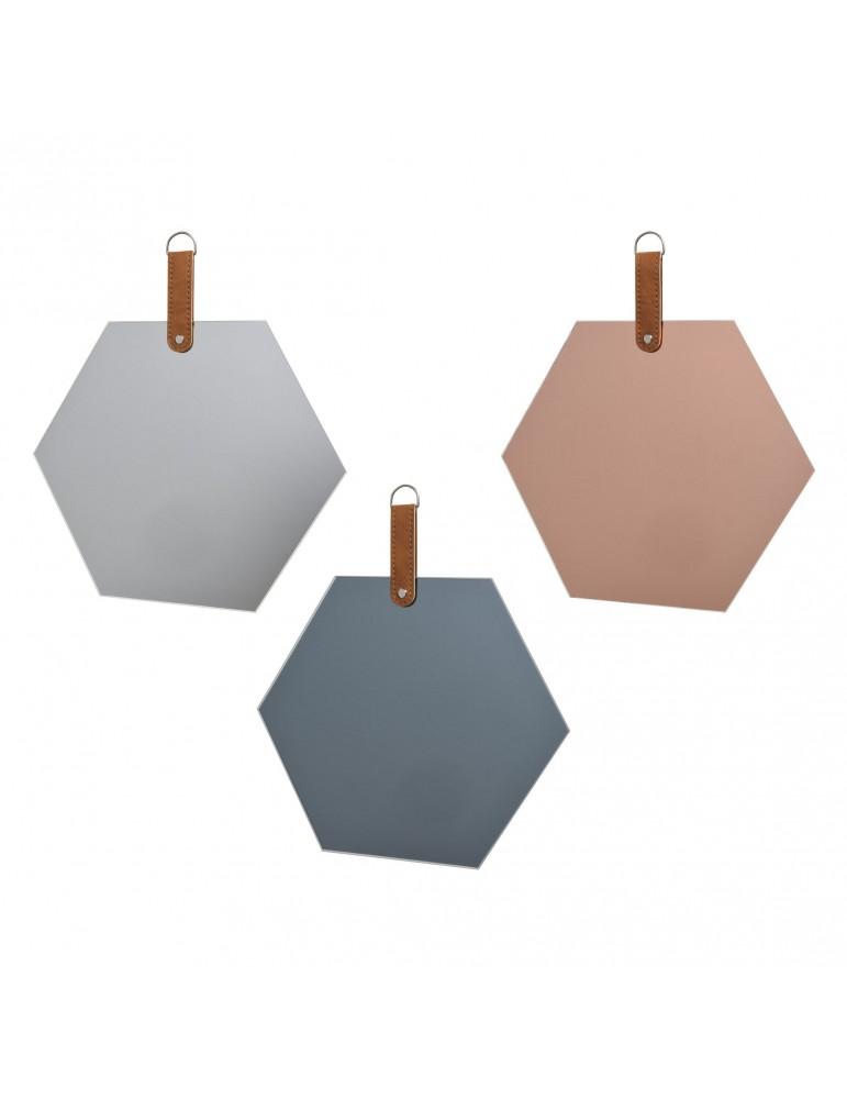 Miroir teinté forme hexagone (Lot de 3) DMI4063220Decoris