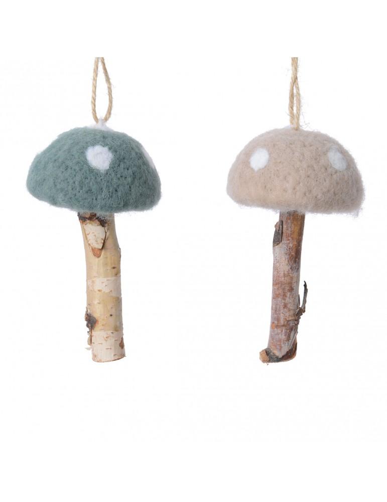 Suspension de noël champignon en laine vert et taupe (Lot de 2) DEO4063385Decoris