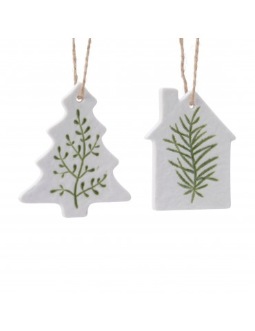 Suspension de noël en porcelaine blanche et verte (Lot de 2) DEO4063373Decoris