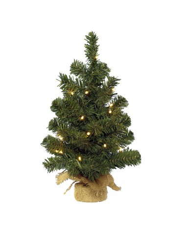 Mini sapin artificiel LED sac en jute DNO4063545Decoris