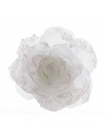 Fleur rose artificielle à clipser paillette blanc DEO4063489Decoris