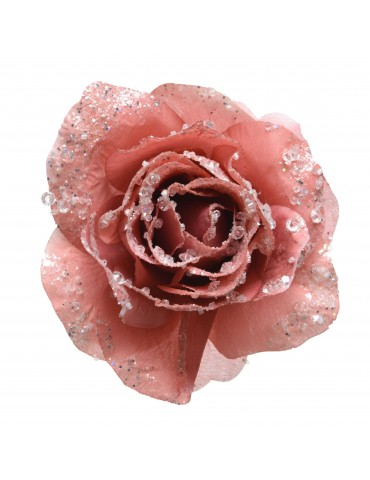 Fleur rose artificielle à clipser paillette rose DEO4063490Decoris
